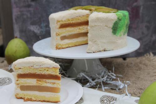 Торт творожно-грушевый с карамелью